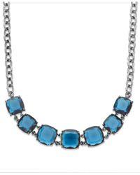 Lauren by Ralph Lauren | Hematite-tone Blue Stone Frontal Necklace | Lyst