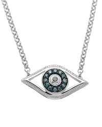 Lord & Taylor | Blue Sterling Silver Evil Eye Pendant Necklace With Green And Black Diamonds | Lyst