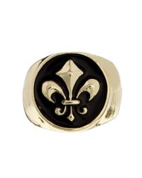 ASOS | Metallic Signet Ring with Fleur De Lis for Men | Lyst