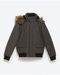 Zara   Gray Quilted Jacket for Men   Lyst