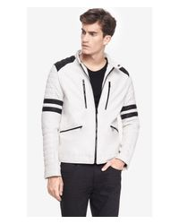 Express - White Quilted (minus The) Leather System Biker Jacket for Men - Lyst