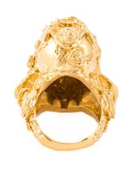 Alexander McQueen - Metallic Floral Skull Cocktail Ring - Lyst