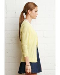 Forever 21 - Yellow Classic Knit Cardigan - Lyst