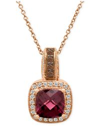 Le Vian | Pink Rhodolite Garnet (1-5/6 Ct. T.w.) And Diamond (1/4 Ct. T.w.) Pendant Necklace In 14k Rose Gold | Lyst