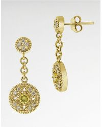 Lord & Taylor - Metallic Cubic Zirconia Round Drop Earrings - Lyst