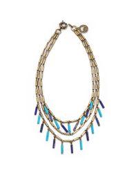 Giles & Brother Multicolor Stone Fringe Multi Chain Necklace
