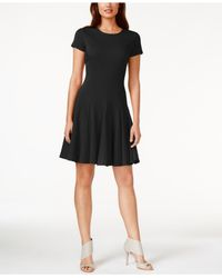 Calvin Klein | Black Cap-sleeve Fit & Flare Dress | Lyst