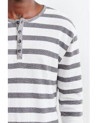BDG - Gray Winterlite Striped Henley Tee for Men - Lyst
