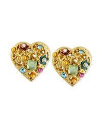 Betsey Johnson - Metallic Antique Goldtone Multicharm Heart Stud Earrings - Lyst