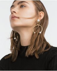 Zara | Metallic Horseshoe Earrings | Lyst