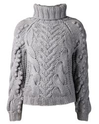 Barbara Bui - Gray Cable Knit Sweater - Lyst