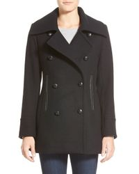 Pendleton | Black 'cascades' Double Breasted Wool Blend Peacoat | Lyst