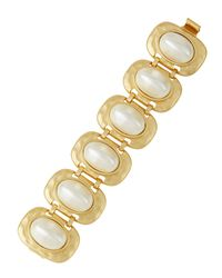 Kenneth Jay Lane | Metallic Golden Pearly Link Bracelet | Lyst