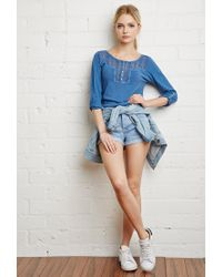 Forever 21 - Blue Crocheted Slub Knit Top - Lyst
