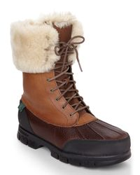 Lauren by Ralph Lauren - Brown Tan Quinta Real Fur Cuff Boots - Lyst