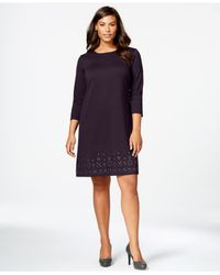 Spense | Purple Plus Size Stud-detailed Shift Dress | Lyst