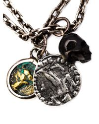 M. Cohen - Metallic Agate Skull Charm Necklace for Men - Lyst