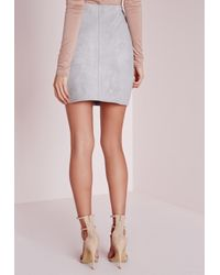 Missguided | Gray Bonded Faux Suede Mini Skirt Light Grey | Lyst