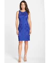 Sue Wong | Purple Soutache Sleeveless Sheath Dress | Lyst