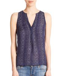 Joie - Blue Aruna Silk Python-print Sleeveless Blouse - Lyst