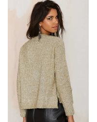 Nasty Gal - Natural J.o.aSparkle Note Lurex Cardigan - Lyst