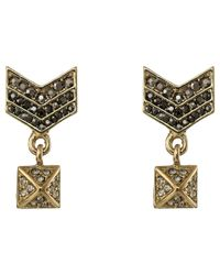 Rebecca Minkoff | Metallic Crystal Chevron Drop Earrings | Lyst