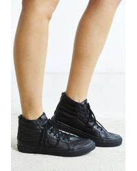 Vans - Black Sk8-hi Perforated Leather Zip Sneaker - Lyst