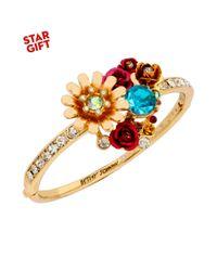 Betsey Johnson - Metallic Goldtone Crystal and Flower Hinged Bangle Bracelet - Lyst