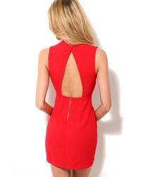AKIRA | Red Bead Trim V-Neck Crepe Weave Sleeveles Dress  | Lyst