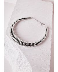 Missguided - Metallic Oversized Choker Necklace Silver - Lyst