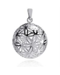Aeravida | Metallic Flower Of Life Kabbalah 3d Ball Sterling Silver Pendant | Lyst
