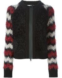 Mauro Grifoni - Black Furry Striped Sleeve Cardigan - Lyst