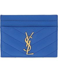 Saint Laurent | Blue Monogram Quilted Leather Card Holder | Lyst