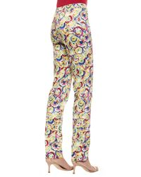 Carolina Herrera - Multicolor Flat-front Parasol-print Slim-fit Pants - Lyst