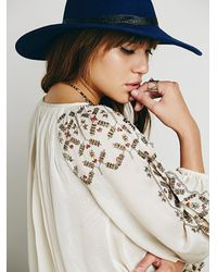 Free People | Natural Embellished Border Top | Lyst