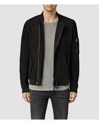 AllSaints - Black Crescent Leather Bomber Jacket for Men - Lyst