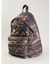 Versus - Black Chain Print Backpack - Lyst