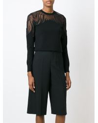 RED Valentino - Black Lace Panel Sweater - Lyst
