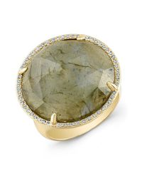Anne Sisteron - Green 14kt Yellow Gold Labradorite Diamond Fancy Cocktail Ring - Lyst