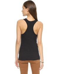 James Perse | Black Skinny Brushed Jersey Racer Back Tank | Lyst