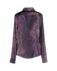 Class Roberto Cavalli | Purple Printed Stretch-Jersey Top | Lyst