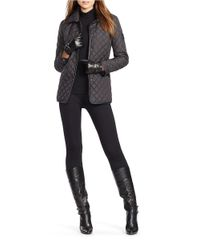 Lauren by Ralph Lauren | Black Faux Leather-trimmed Quilted Coat | Lyst