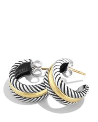 David Yurman - Metallic Cable Classics Hoop Earrings With Gold - Lyst