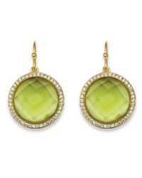 Palmbeach Jewelry - Green .42 Tcw Checkerboard-cut Simulated Peridot & Cz Halo Drop Earrings 14k Gold-plated - Lyst