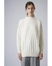TOPSHOP - Natural High Neck Cable Sweater - Lyst