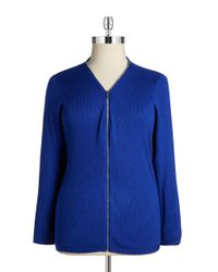 Calvin Klein | Blue Plus Zip-front Knit Cardigan | Lyst