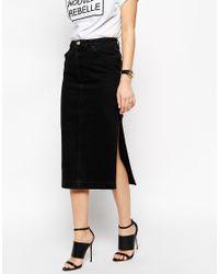 Asos Denim Midi Skirt In Washed Black With Side Split in Black | Lyst