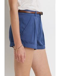 Forever 21 - Blue Belted Cuff Shorts - Lyst