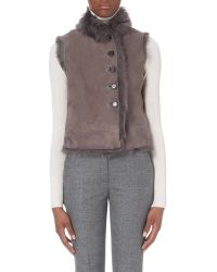 JOSEPH - Gray New Lucy Sheepskin Gilet - Lyst