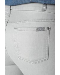 7 For All Mankind - Gray The Mid Rise Cropped Skinny - Lyst